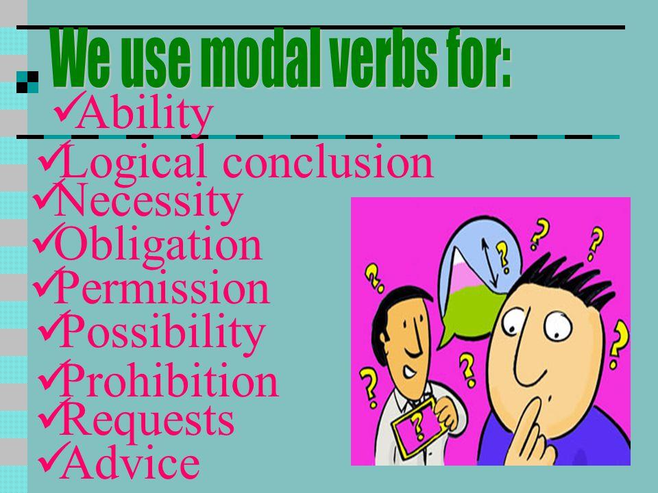 Ability Logical conclusion Necessity Obligation Permission Possibility Prohibition Requests Advice