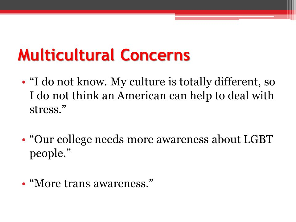 Multicultural Concerns I do not know.