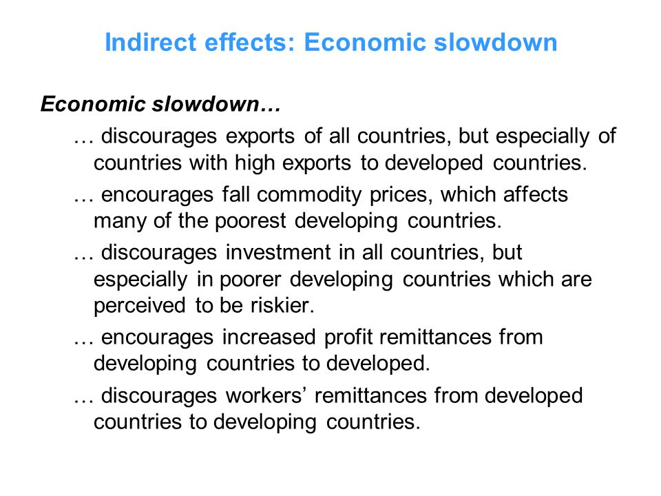 Economic slowdown… … discourages exports of all countries, but especially of countries with high exports to developed countries.