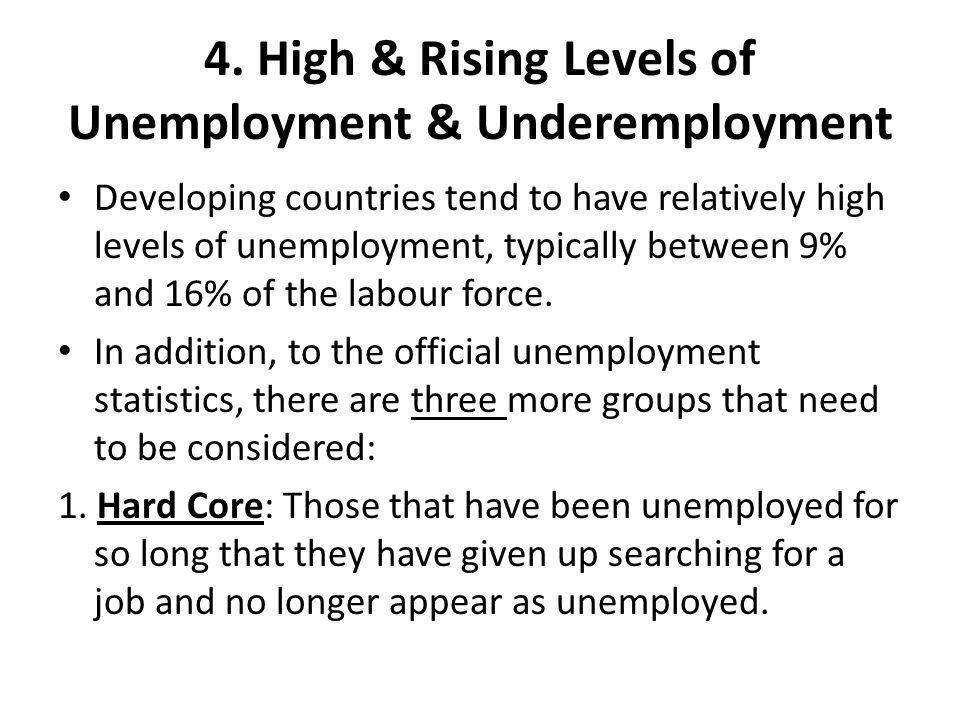 4.High & Rising Levels of Unemployment & Underemployment 2.