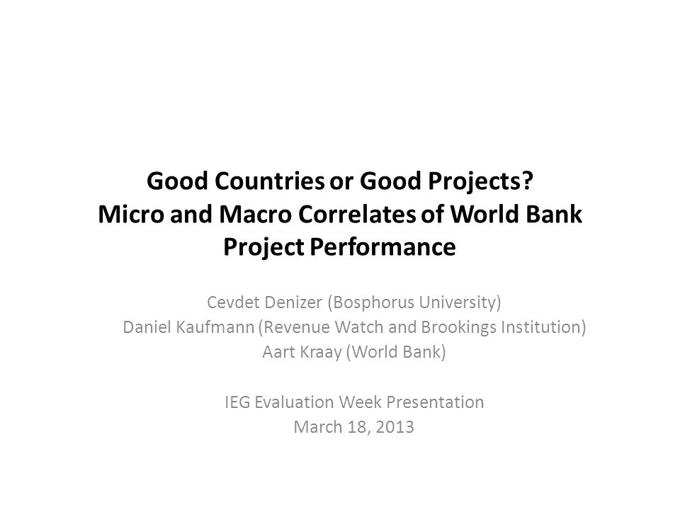 Good Countries or Good Projects.