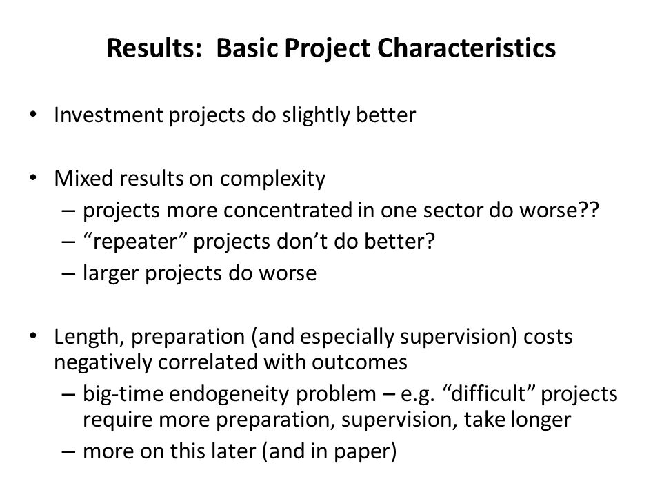 Investment projects do slightly better Mixed results on complexity – projects more concentrated in one sector do worse .