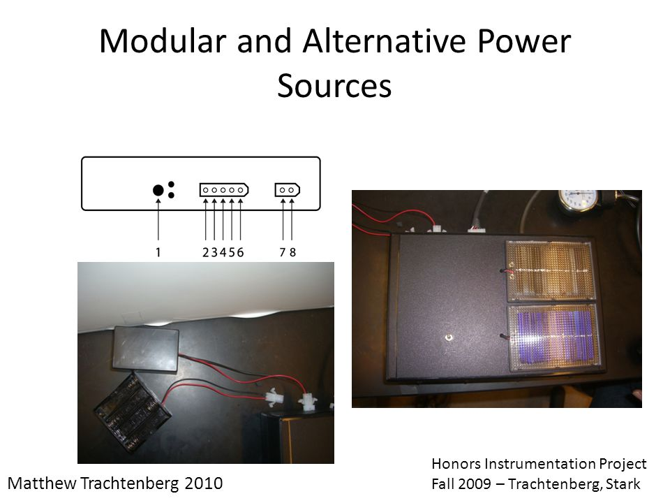 Modular and Alternative Power Sources Matthew Trachtenberg 2010 Honors Instrumentation Project Fall 2009 – Trachtenberg, Stark