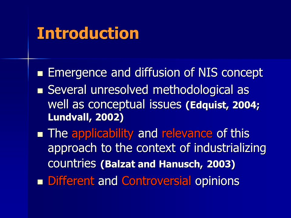 Main Question Can We Apply NIS Concept for Analyzing Developing Countries and If yes, How.