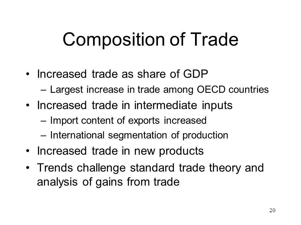 20 Composition of Trade Increased trade as share of GDP –Largest increase in trade among OECD countries Increased trade in intermediate inputs –Import content of exports increased –International segmentation of production Increased trade in new products Trends challenge standard trade theory and analysis of gains from trade