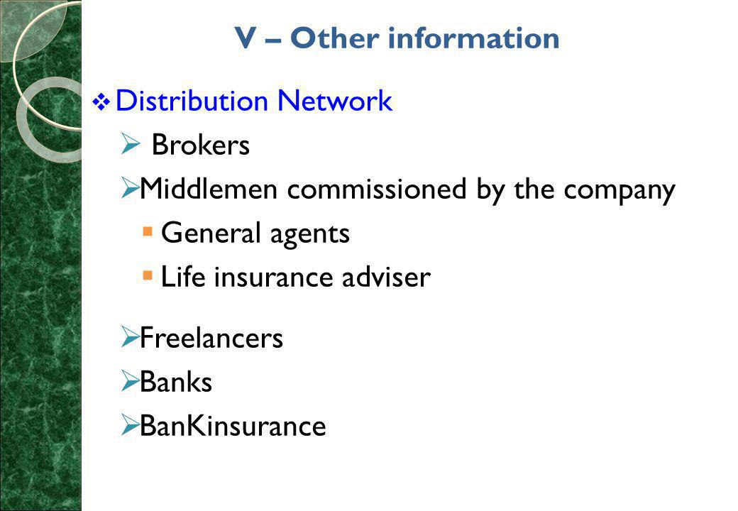 V – Other information  Distribution Network  Brokers  Middlemen commissioned by the company  General agents  Life insurance adviser  Freelancers  Banks  BanKinsurance