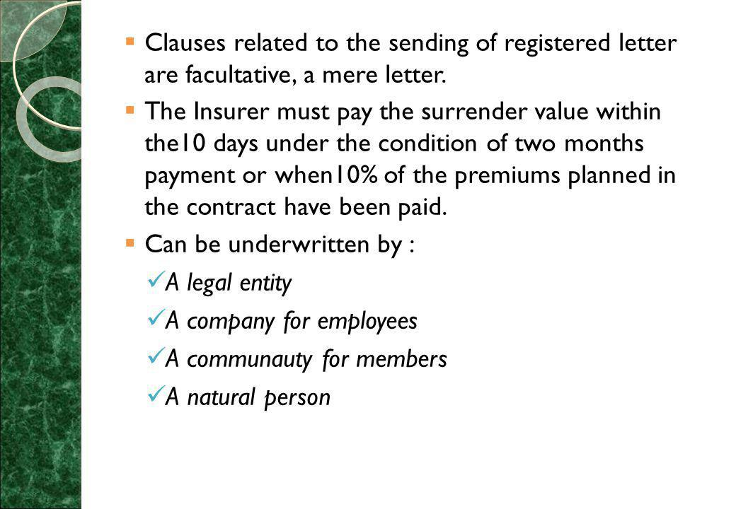  Clauses related to the sending of registered letter are facultative, a mere letter.