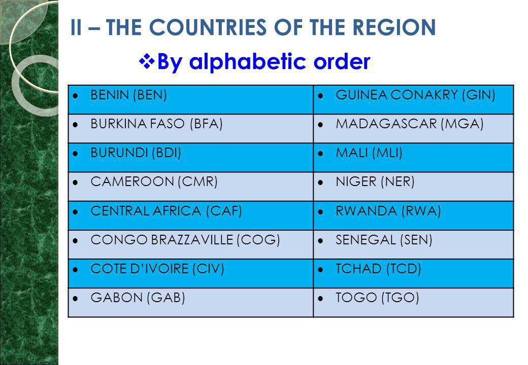 II – THE COUNTRIES OF THE REGION  By alphabetic order  BENIN (BEN)  GUINEA CONAKRY (GIN)  BURKINA FASO (BFA)  MADAGASCAR (MGA)  BURUNDI (BDI)  MALI (MLI)  CAMEROON (CMR)  NIGER (NER)  CENTRAL AFRICA (CAF)  RWANDA (RWA)  CONGO BRAZZAVILLE (COG)  SENEGAL (SEN)  COTE D'IVOIRE (CIV)  TCHAD (TCD)  GABON (GAB)  TOGO (TGO)
