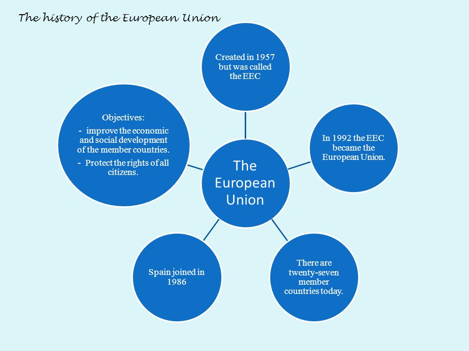 The European Union Created in 1957 but was called the EEC In 1992 the EEC became the European Union. There are twenty-seven member countries today. Sp