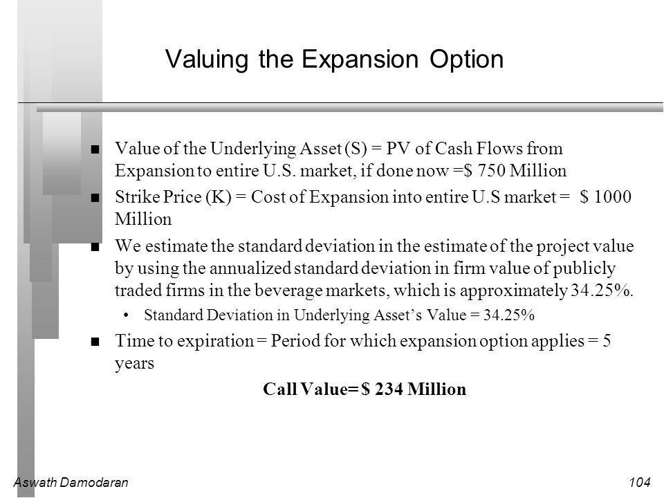 Aswath Damodaran104 Valuing the Expansion Option Value of the Underlying Asset (S) = PV of Cash Flows from Expansion to entire U.S.