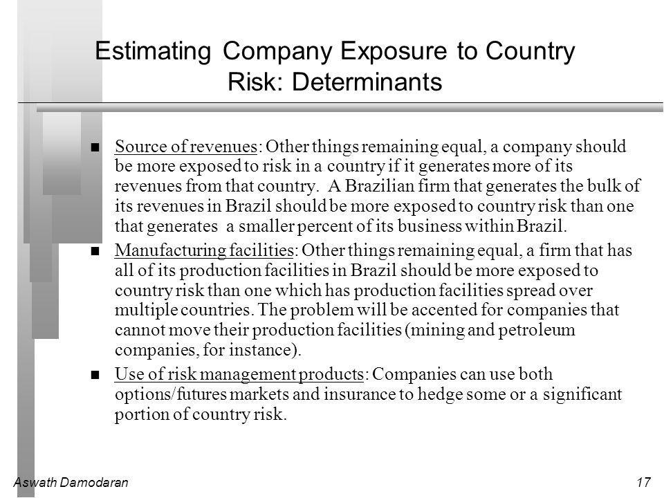 Aswath Damodaran17 Estimating Company Exposure to Country Risk: Determinants Source of revenues: Other things remaining equal, a company should be more exposed to risk in a country if it generates more of its revenues from that country.