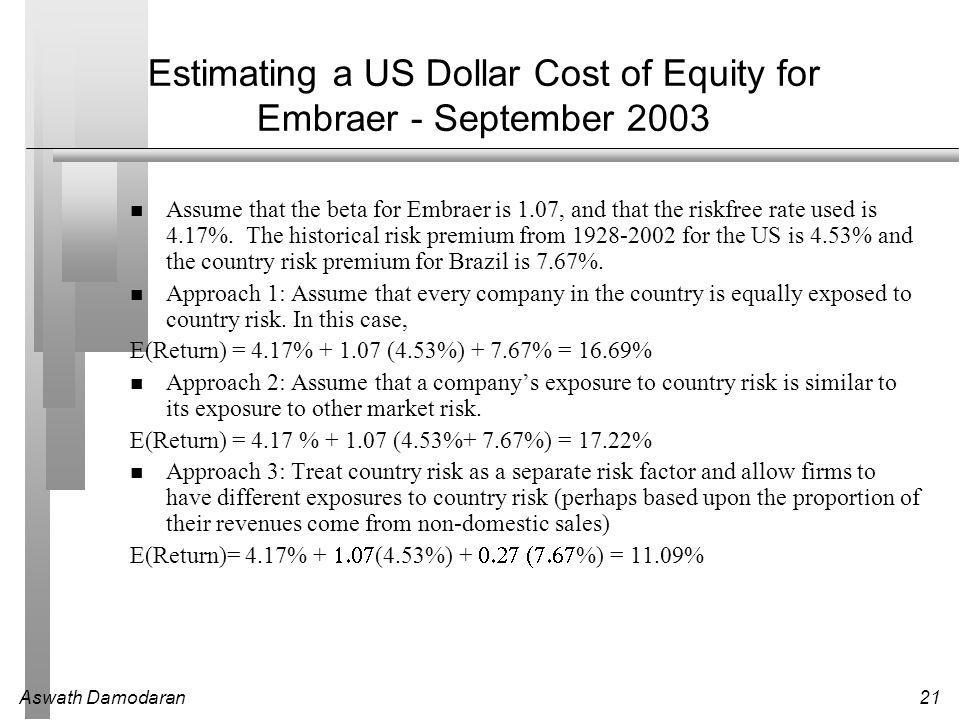 Aswath Damodaran21 Estimating a US Dollar Cost of Equity for Embraer - September 2003 Assume that the beta for Embraer is 1.07, and that the riskfree rate used is 4.17%.