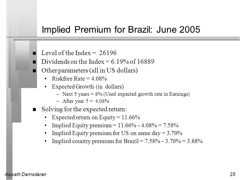 Aswath Damodaran25 Implied Premium for Brazil: June 2005 Level of the Index = 26196 Dividends on the Index = 6.19% of 16889 Other parameters (all in US dollars) Riskfree Rate = 4.08% Expected Growth (in dollars) –Next 5 years = 8% (Used expected growth rate in Earnings) –After year 5 = 4.08% Solving for the expected return: Expected return on Equity = 11.66% Implied Equity premium = 11.66% - 4.08% = 7.58% Implied Equity premium for US on same day = 3.70% Implied country premium for Brazil = 7.58% - 3.70% = 3.88%