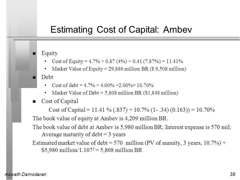 Aswath Damodaran38 Estimating Cost of Capital: Ambev Equity Cost of Equity = 4.7% + 0.87 (4%) + 0.41 (7.87%) = 11.41% Market Value of Equity = 29,886 million BR ($ 9,508 million) Debt Cost of debt = 4.7% + 4.00% +2.00%= 10.70% Market Value of Debt = 5,808 million BR ($1,848 million) Cost of Capital Cost of Capital = 11.41 % (.837) + 10.7% (1-.34) (0.163)) = 10.70% The book value of equity at Ambev is 4,209 million BR.