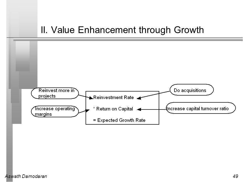 Aswath Damodaran49 II. Value Enhancement through Growth