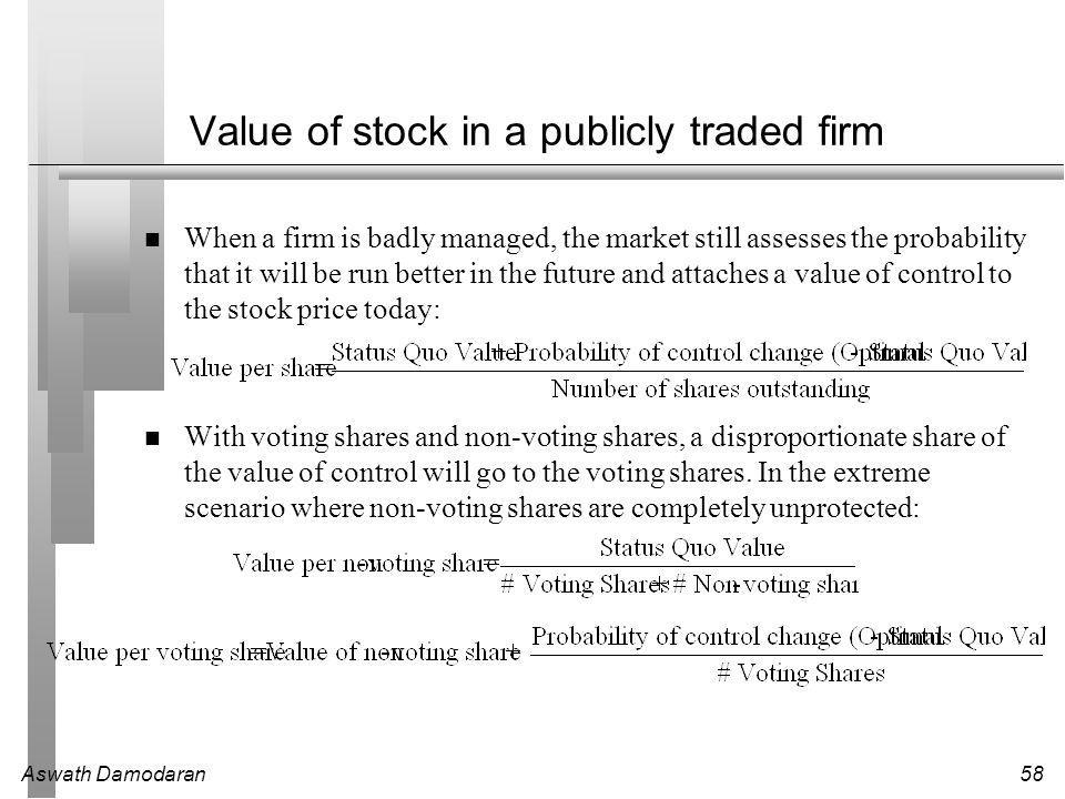 Aswath Damodaran58 Value of stock in a publicly traded firm When a firm is badly managed, the market still assesses the probability that it will be run better in the future and attaches a value of control to the stock price today: With voting shares and non-voting shares, a disproportionate share of the value of control will go to the voting shares.