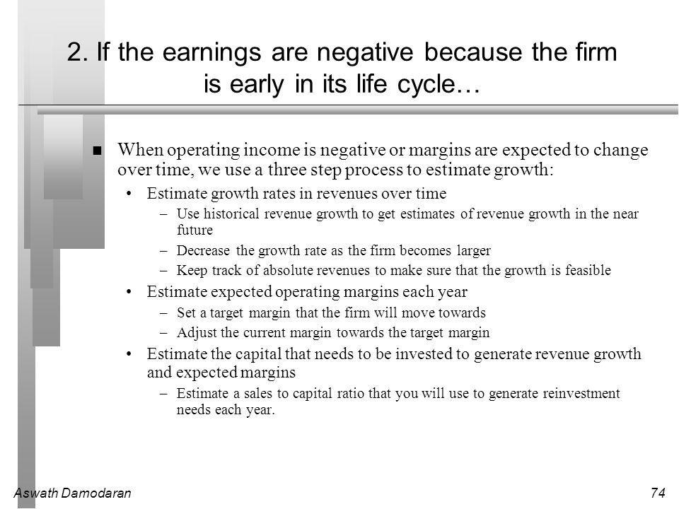Aswath Damodaran74 2. If the earnings are negative because the firm is early in its life cycle… When operating income is negative or margins are expec