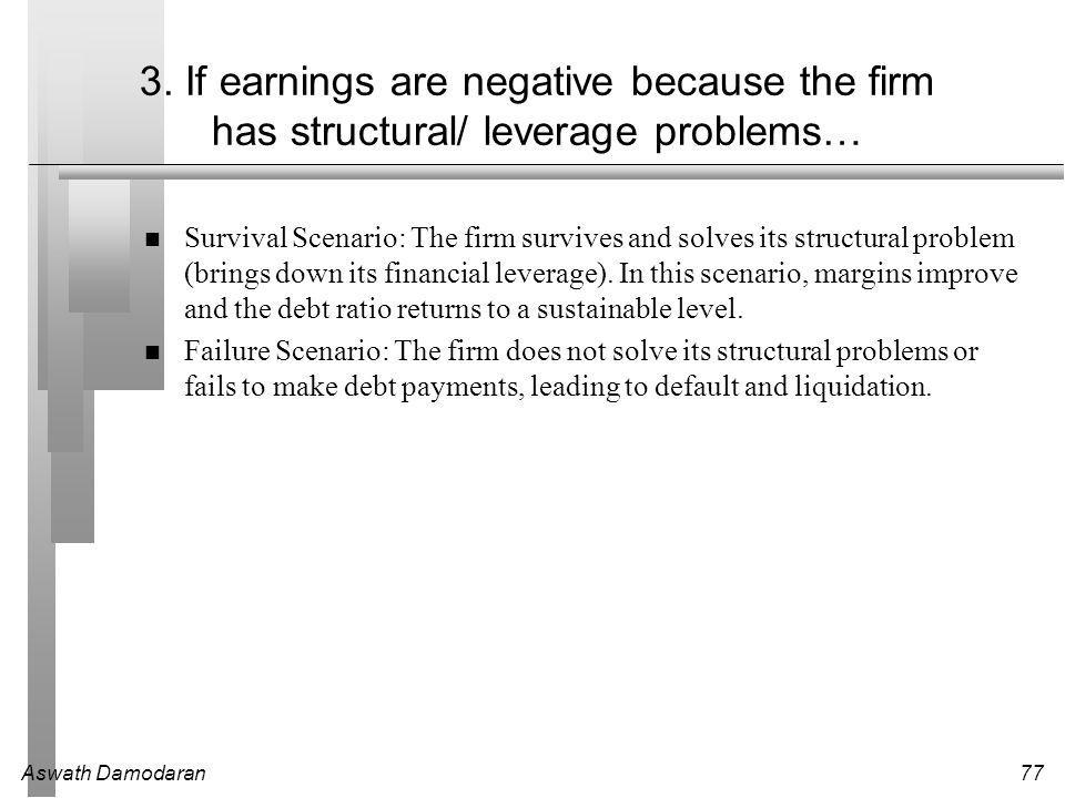 Aswath Damodaran77 3. If earnings are negative because the firm has structural/ leverage problems… Survival Scenario: The firm survives and solves its