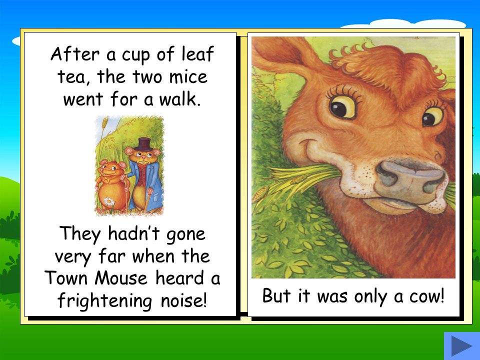 One day the Country Mouse invited the Town Mouse to come and stay.