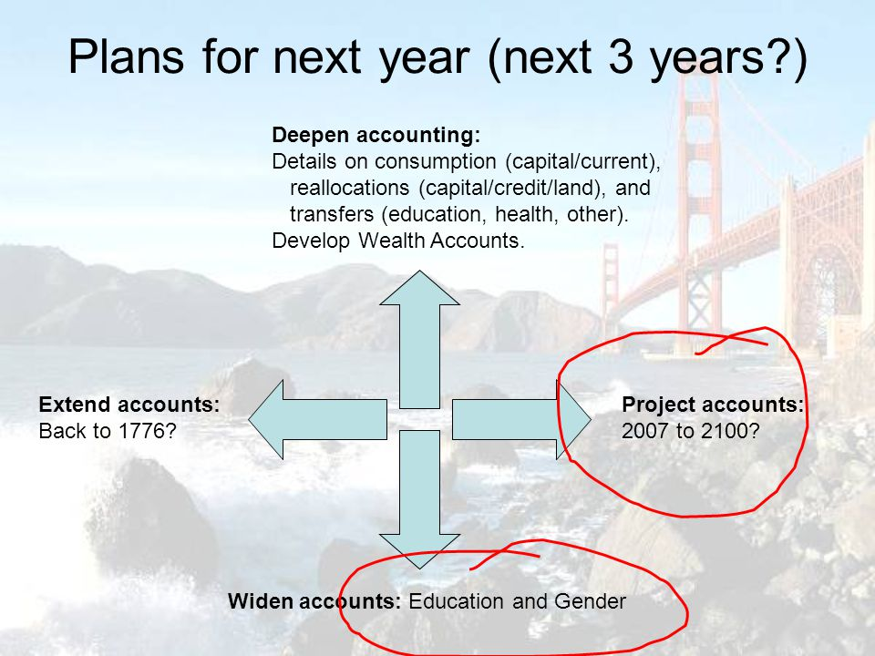 Plans for next year (next 3 years ) Deepen accounting: Details on consumption (capital/current), reallocations (capital/credit/land), and transfers (education, health, other).