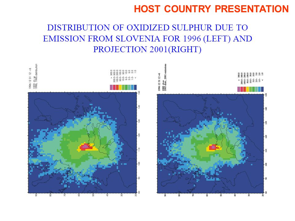 DISTRIBUTION OF OXIDIZED SULPHUR DUE TO EMISSION FROM SLOVENIA FOR 1996 (LEFT) AND PROJECTION 2001(RIGHT) HOST COUNTRY PRESENTATION