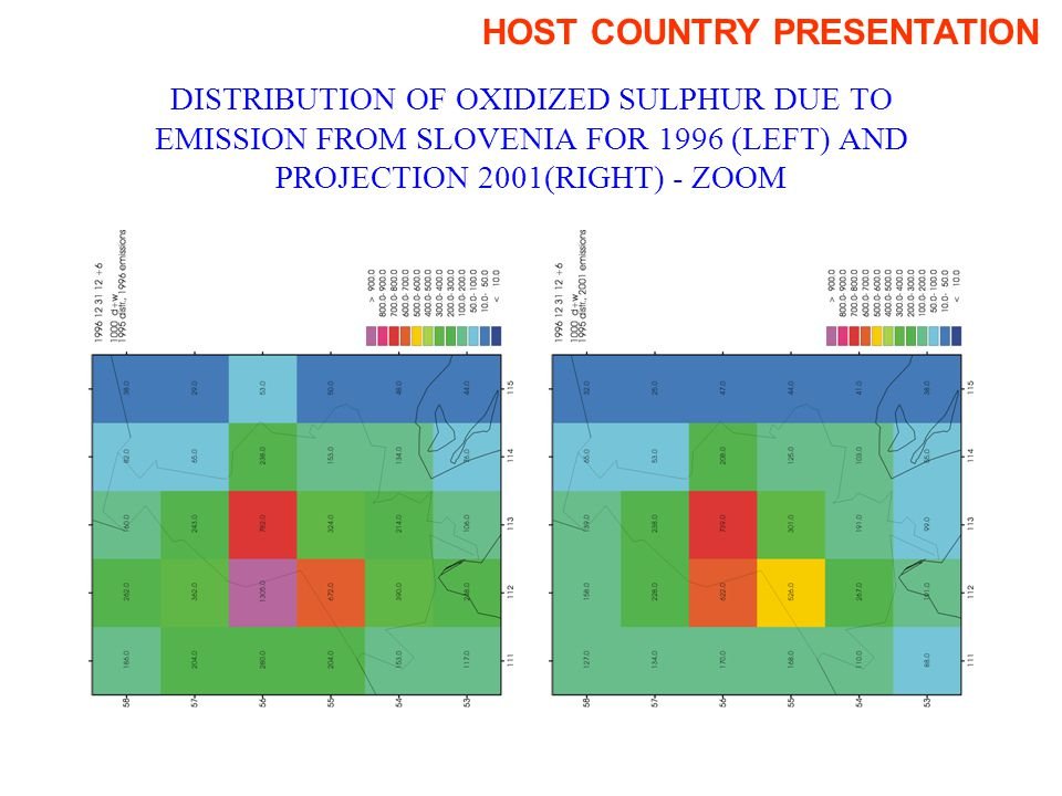 DISTRIBUTION OF OXIDIZED SULPHUR DUE TO EMISSION FROM SLOVENIA FOR 1996 (LEFT) AND PROJECTION 2001(RIGHT) - ZOOM HOST COUNTRY PRESENTATION