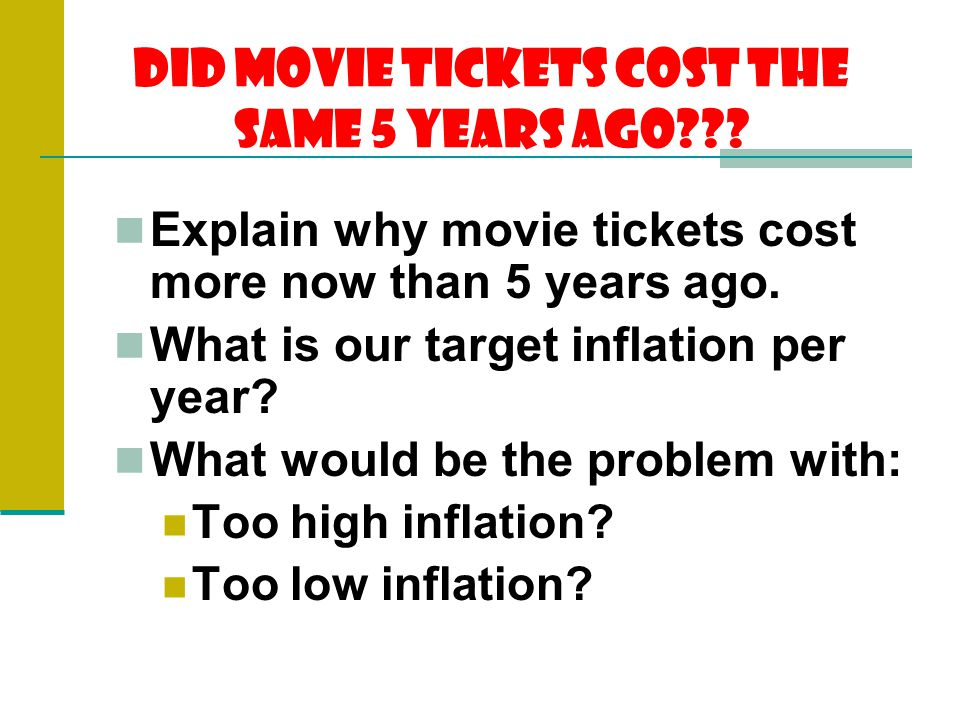 Did Movie Tickets Cost the Same 5 years ago .