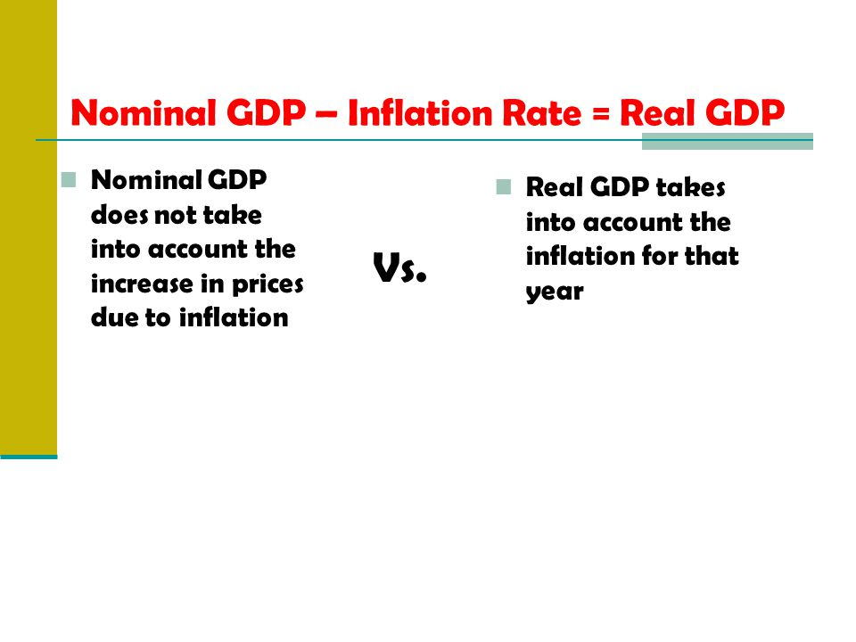 Nominal GDP – Inflation Rate = Real GDP Nominal GDP does not take into account the increase in prices due to inflation Real GDP takes into account the inflation for that year Vs.