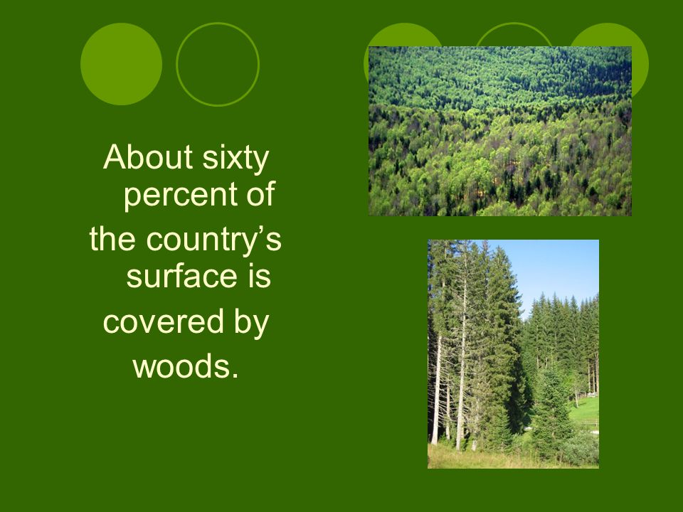About sixty percent of the country's surface is covered by woods.