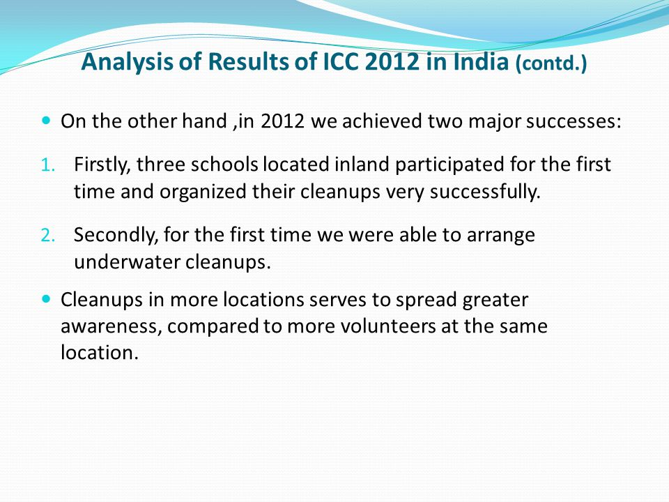 Analysis of Results of ICC 2012 in India (contd.) On the other hand,in 2012 we achieved two major successes: 1. Firstly, three schools located inland