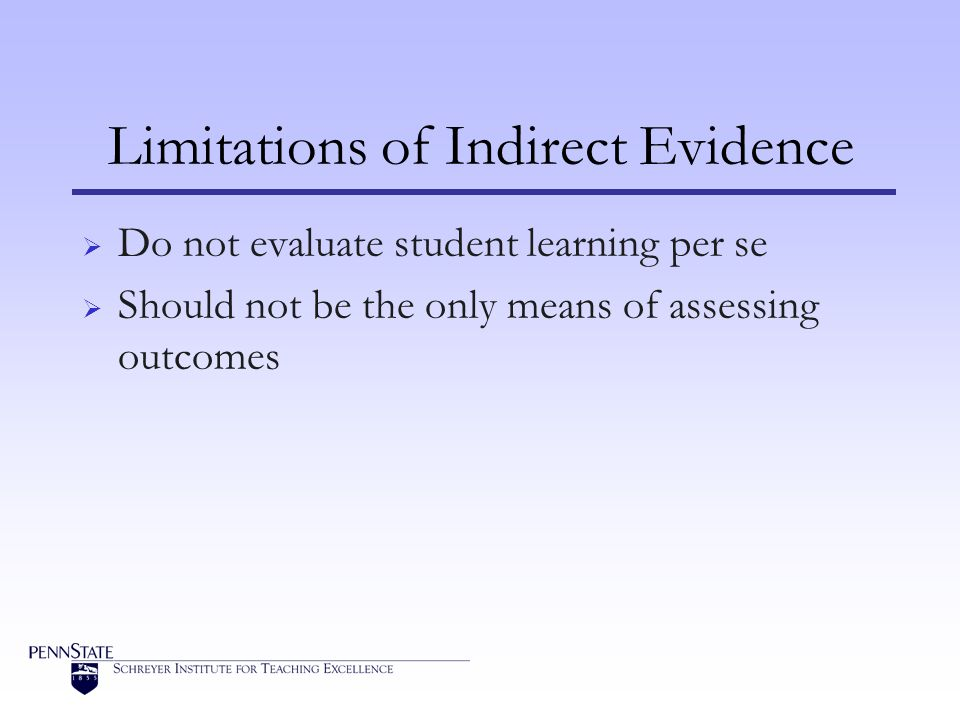 Limitations of Indirect Evidence  Do not evaluate student learning per se  Should not be the only means of assessing outcomes
