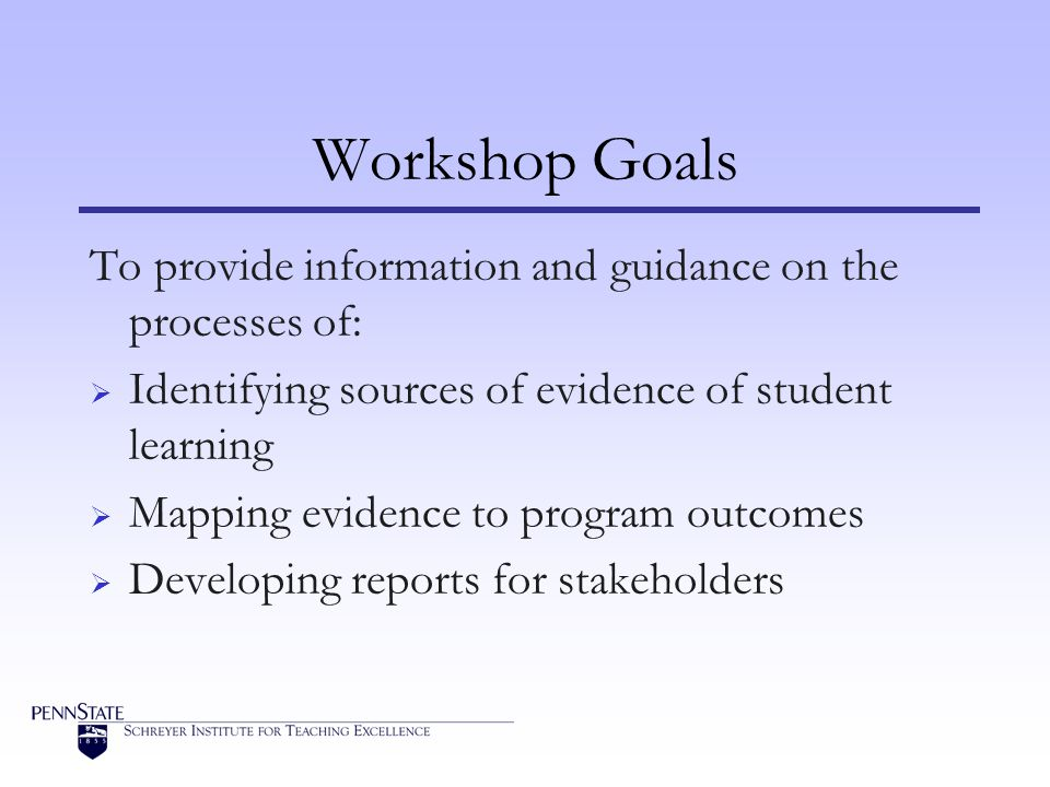 Workshop Goals To provide information and guidance on the processes of:  Identifying sources of evidence of student learning  Mapping evidence to program outcomes  Developing reports for stakeholders