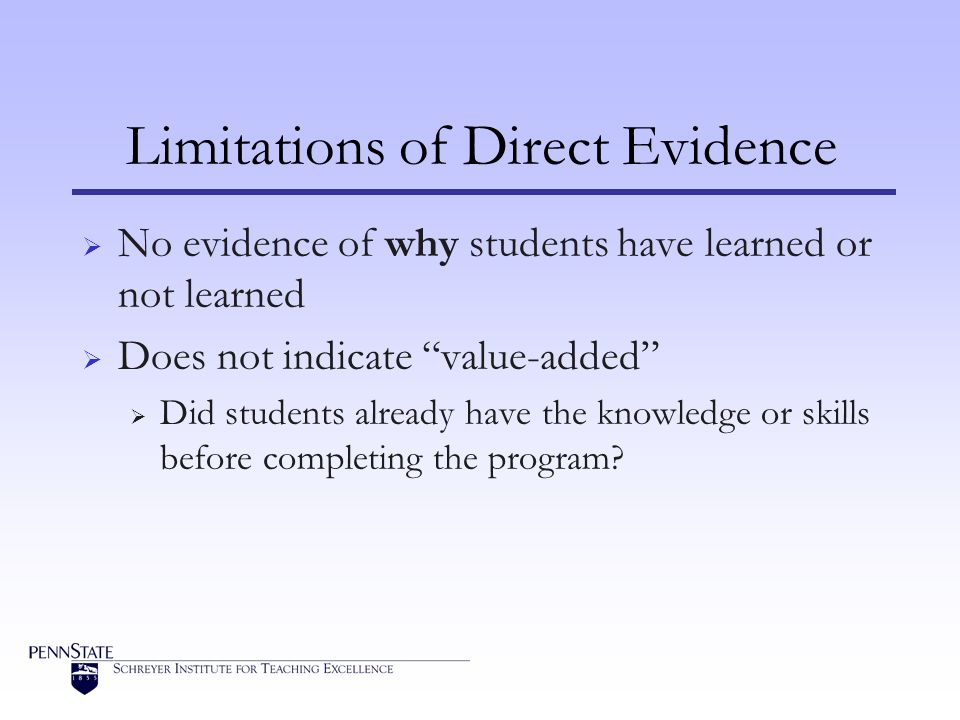 Limitations of Direct Evidence  No evidence of why students have learned or not learned  Does not indicate value-added  Did students already have the knowledge or skills before completing the program?