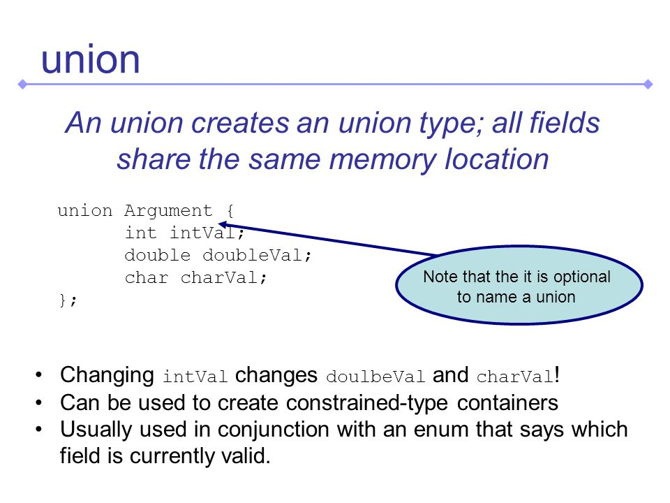 union An union creates an union type; all fields share the same memory location union Argument { int intVal; double doubleVal; char charVal; }; Changing intVal changes doulbeVal and charVal .