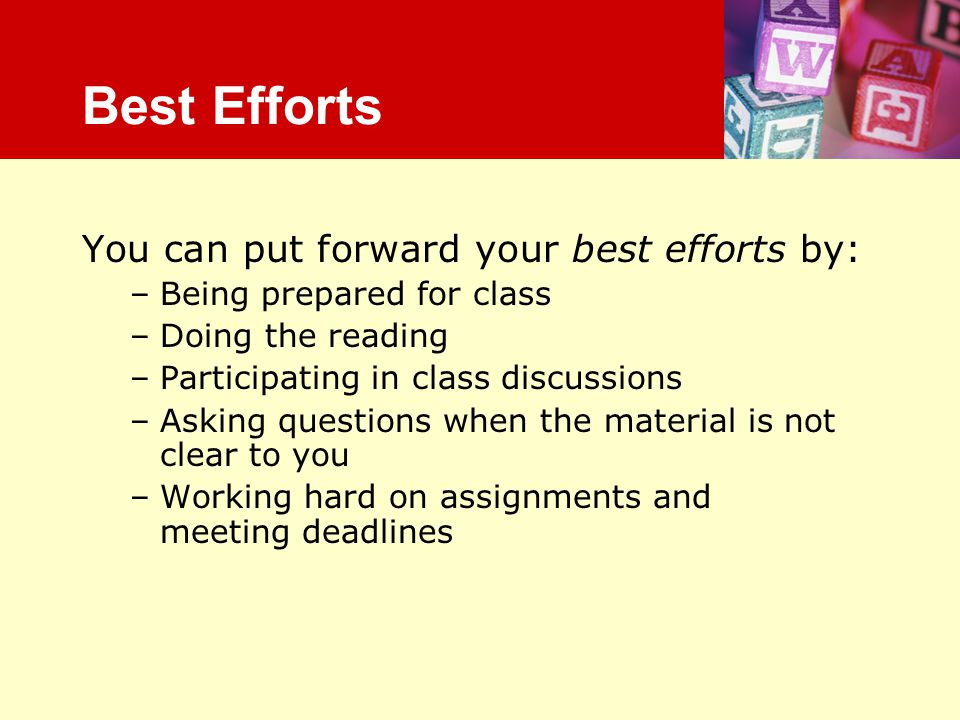 Best Efforts You can put forward your best efforts by: –Being prepared for class –Doing the reading –Participating in class discussions –Asking questi