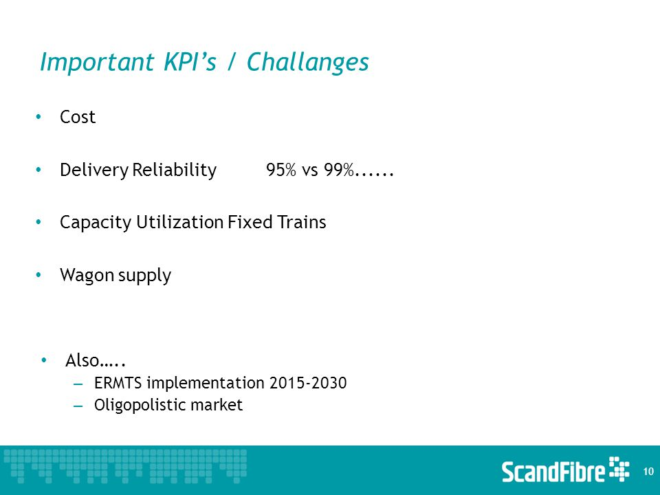 Important KPI's / Challanges Cost Delivery Reliability95% vs 99%......