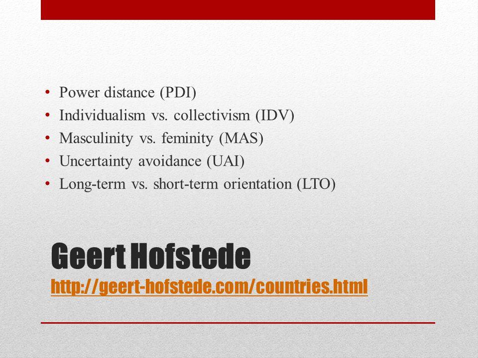 Geert Hofstede http://geert-hofstede.com/countries.html http://geert-hofstede.com/countries.html Power distance (PDI) Individualism vs. collectivism (