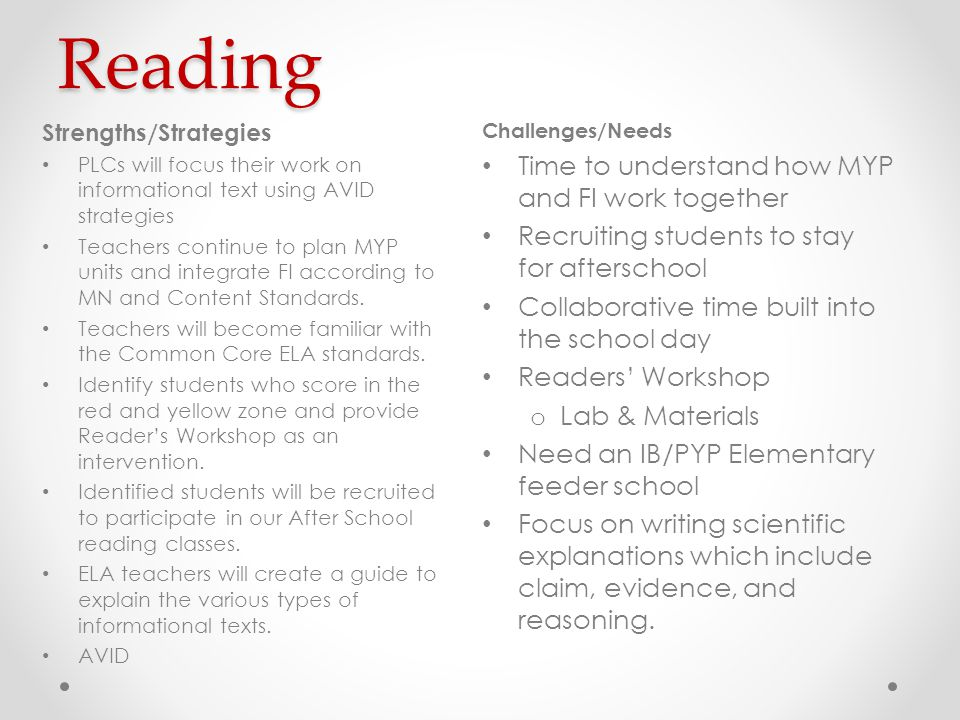Reading Challenges/Needs Time to understand how MYP and FI work together Recruiting students to stay for afterschool Collaborative time built into the school day Readers' Workshop o Lab & Materials Need an IB/PYP Elementary feeder school Focus on writing scientific explanations which include claim, evidence, and reasoning.