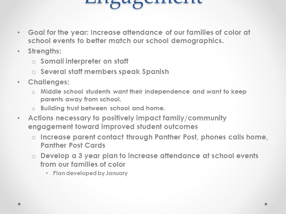 Family/Community Engagement Goal for the year: Increase attendance of our families of color at school events to better match our school demographics.