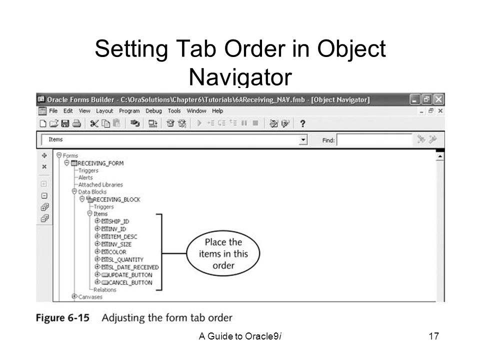A Guide to Oracle9i17 Setting Tab Order in Object Navigator