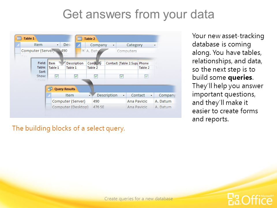 Query a single record source Create queries for a new database Using the Query Designer.