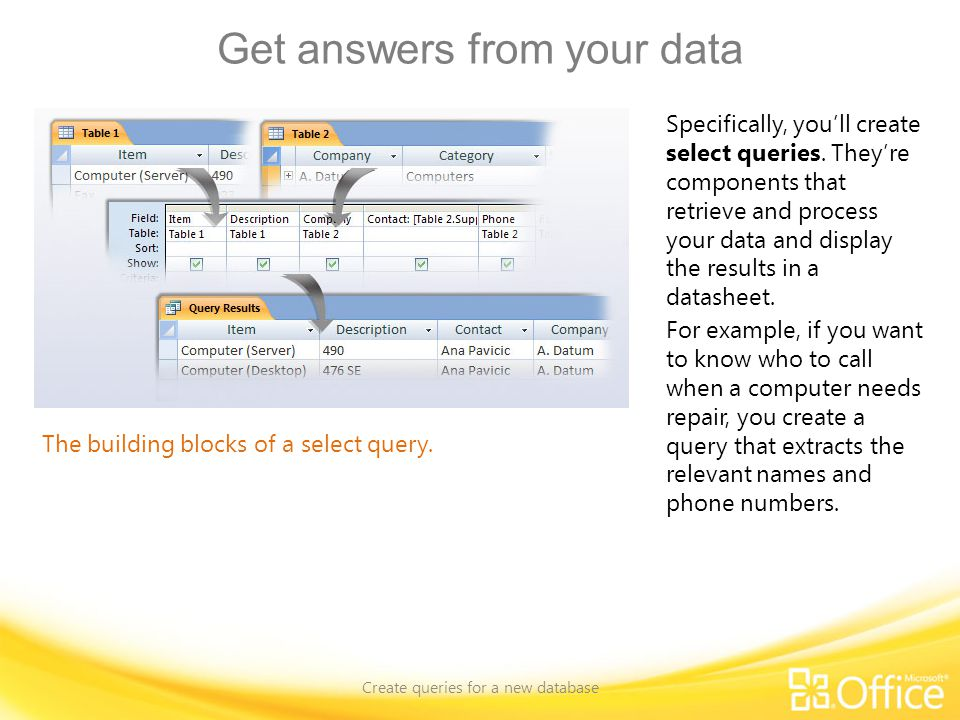Get answers from your data Create queries for a new database The building blocks of a select query.