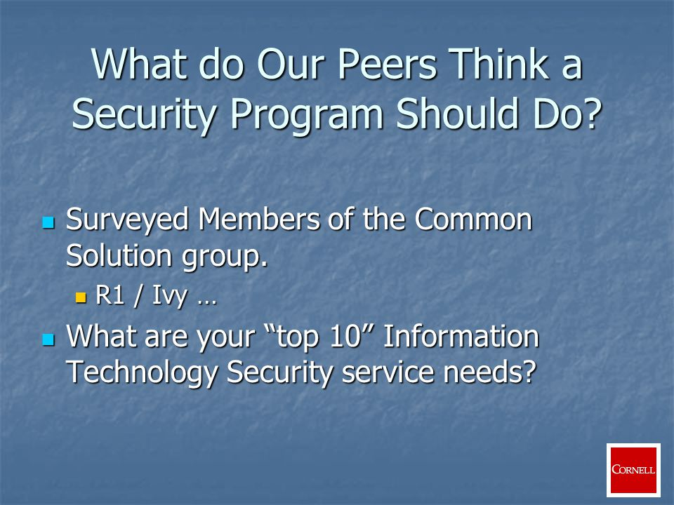 Security Infrastructure Network infrastructures Network infrastructures Security Applications Security Applications Anti-Virus Anti-Virus Personal firewalls Personal firewalls Scanning Scanning System analysis/forensics System analysis/forensics
