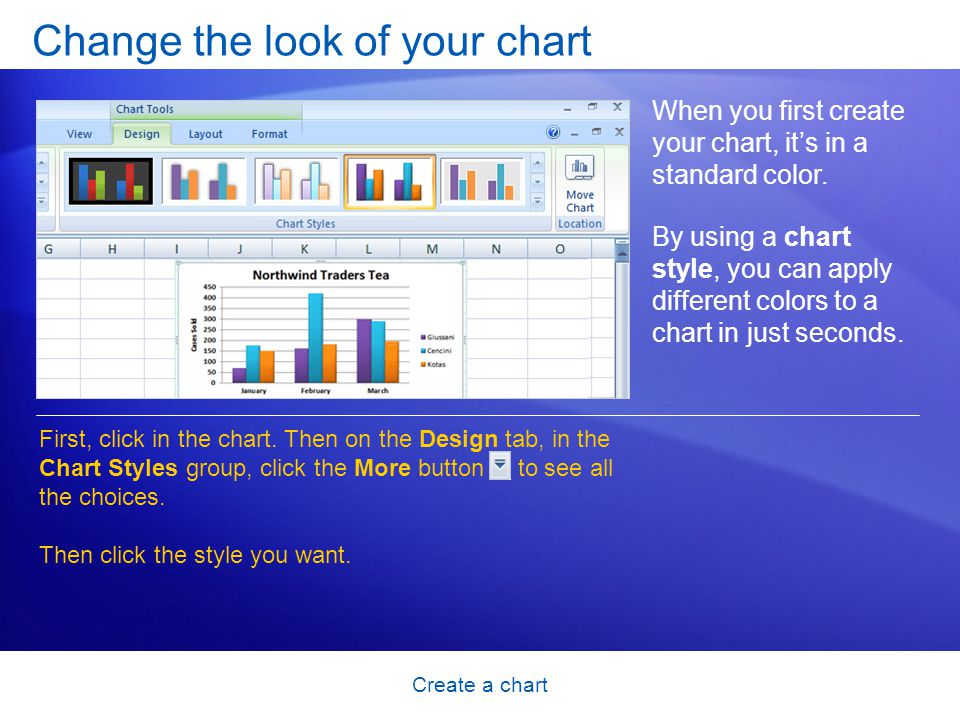 Create a chart Change the look of your chart When you first create your chart, it's in a standard color.