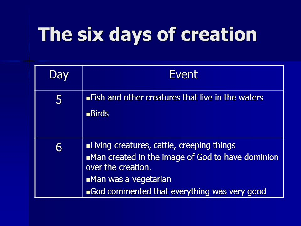 The six days of creation DayEvent 5 Fish and other creatures that live in the waters Fish and other creatures that live in the waters Birds Birds 6 Li