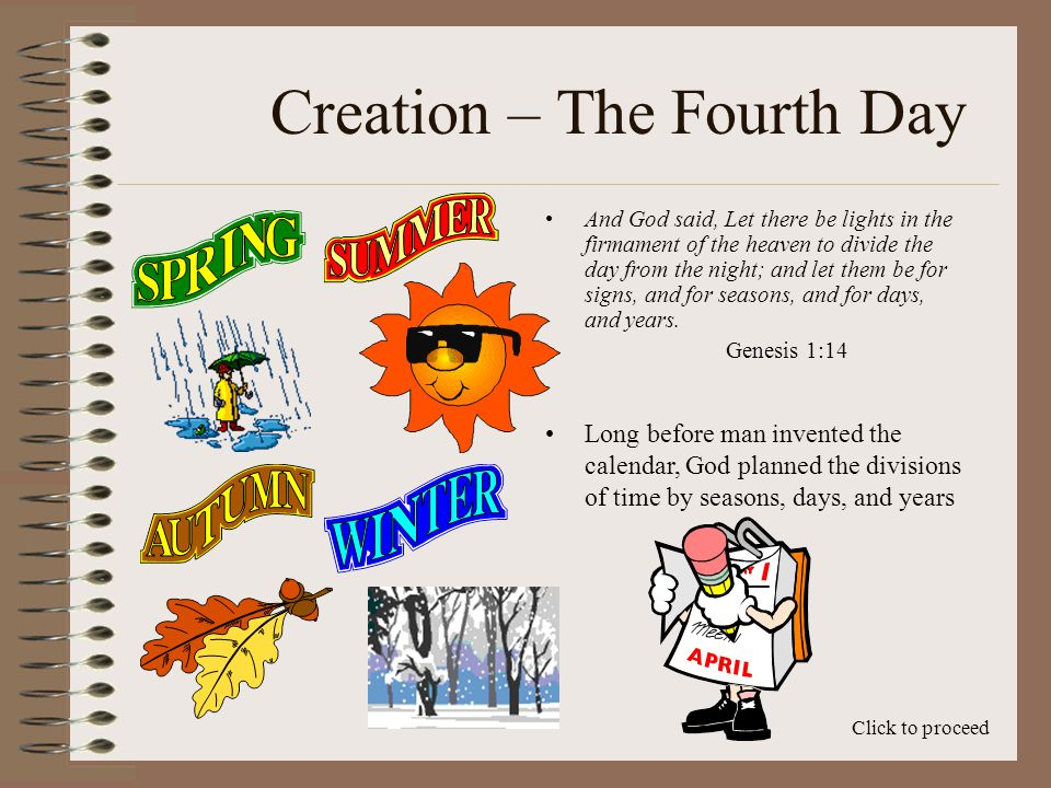 Creation – The Fourth Day The 4th day of creation is discussed by God in Genesis Chapter 1, verses 14 thru 19.