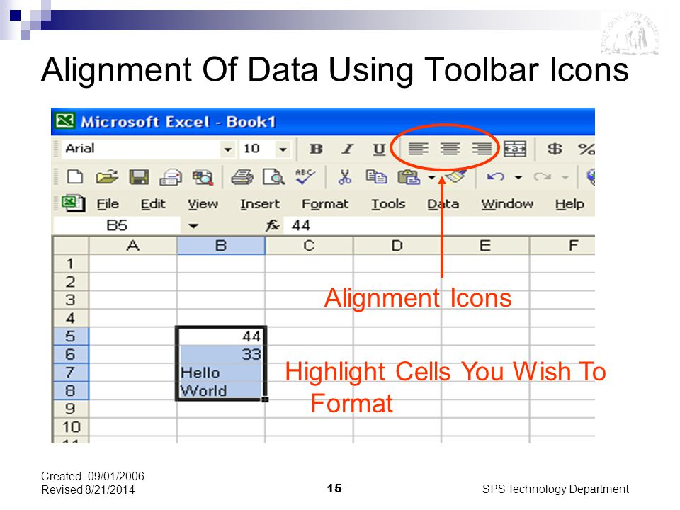 SPS Technology Department15 Created 09/01/2006 Revised 8/21/2014 Alignment Of Data Using Toolbar Icons Highlight Cells You Wish To Format Alignment Icons