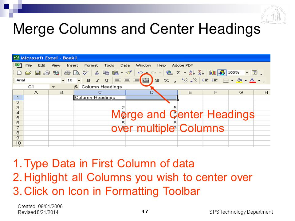 SPS Technology Department17 Created 09/01/2006 Revised 8/21/2014 Merge Columns and Center Headings Merge and Center Headings over multiple Columns 1.Type Data in First Column of data 2.Highlight all Columns you wish to center over 3.Click on Icon in Formatting Toolbar