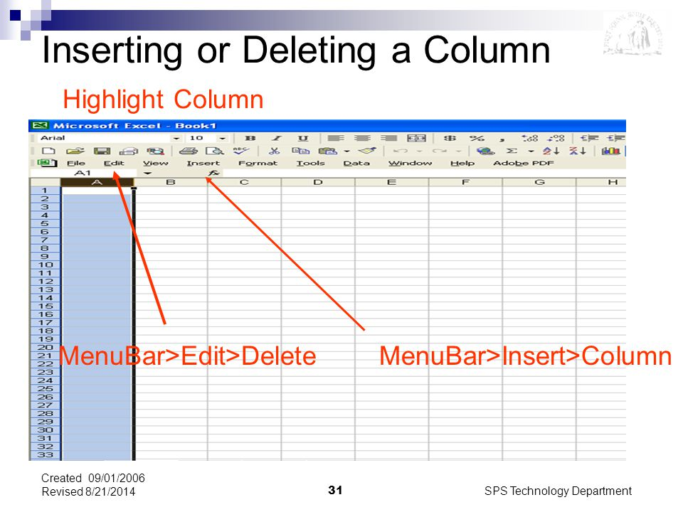SPS Technology Department31 Created 09/01/2006 Revised 8/21/2014 MenuBar>Edit>Delete MenuBar>Insert>Column Inserting or Deleting a Column Highlight Column