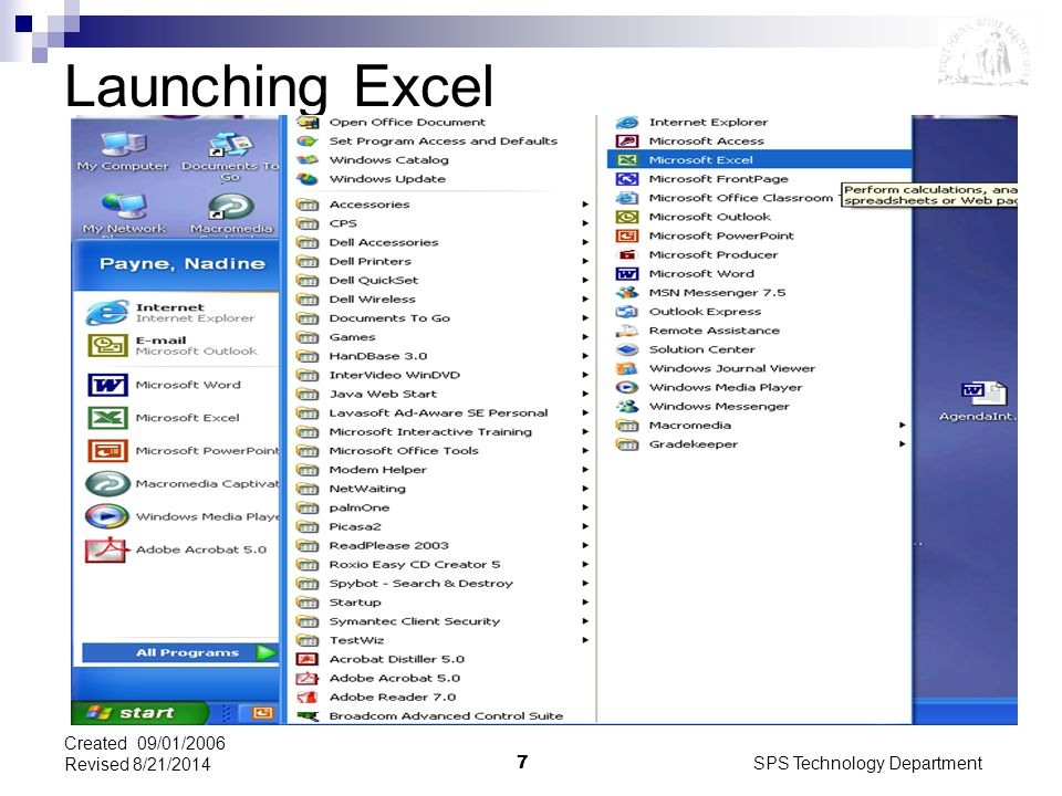 SPS Technology Department7 Created 09/01/2006 Revised 8/21/2014 Launching Excel